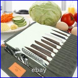 10 Slot Chef Knife Roll Bag 10 Pockets Kitchen Cooking Handles Storage Case