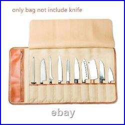 10 Slot Japanese Chef Knife Roll Bag Genuine Leather Knives Storage Carry Case
