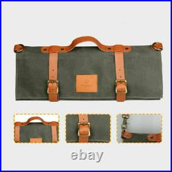 10 Slot Japanese Chef Knife Roll Bag Waxed Canvas Leather Knives Storage Case
