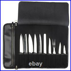 10 Slot Japanese Genuine Leather Chef Knife Roll Bag Leather Knives Storage Case