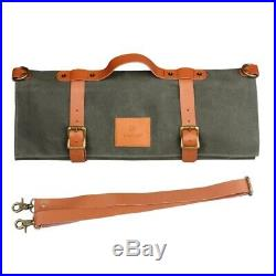 10 Slots Chef Knife Bag Portable Canvas Knives Storage Case Kitchen Cooking Tool