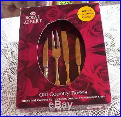 11 Pc Royal Albert Old Country Roses Steak Knives-carving Set-storage Case-gold