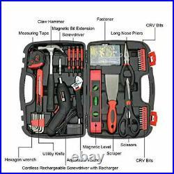 143 pcs Household Tools Set Wth Storage Case Home Repair Tool Kit Cordless Drill