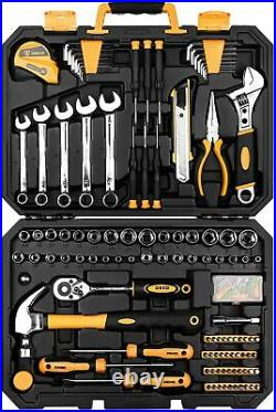 158 Pcs Hand Tool Kit Household Auto Mechanics Repair Kit w Toolbox Storage Case