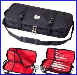 17-Pocket Knife Case Culinary Chef Knives Double-Zip Cutlery Bag Holder Storage
