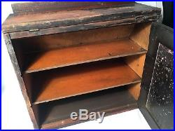 1940's Antique Remington Table Top Knife Display Case Storage Cabinet Wood/glass