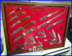 1980s Schrade Uncle Henry 14 Knifes Store Display Case RARE U. S. A