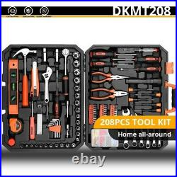 208 Pcs Hand Tool Sets Auto Repair Tool Kit with PlasticToolbox Storage Case