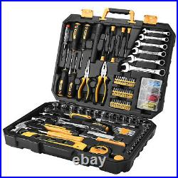 208 Piece General Household Hand Tool Set with Plastic Toolbox Storage Case