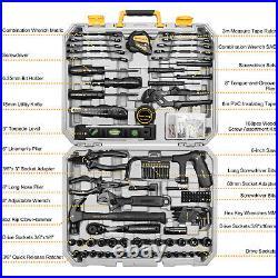 218 Piece Household Auto Repair Tools Set with Portable Plastic Storage Case