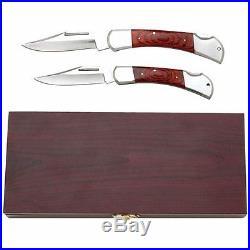 3 PC Folding Blade Lock Back Pocket Knife Set in Wood Display Case Storage Box
