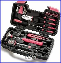 39 Piece General Household Hand Tool Kit With Plastic Storage Case Pink