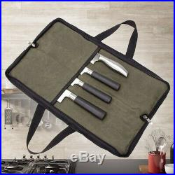 4 Slots Chef Knife Roll Bag Zipper Canvas Kitchen Cooking Storage Case Durable