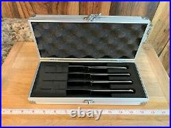 4 pc Wusthof Trident Solid Stainless Steel Steak Knife Set in Aluminum Case VGC