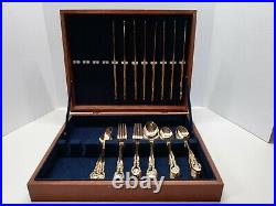 49 Piece Flatware Set Gold Stainless Japan Rose Pattern With Wood Storage Case