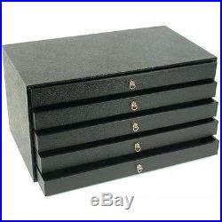 5 Drawer Red 50 Slot Bracelet Pens Pocket Knife Display Storage Cabinet Case
