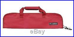 5-Pocket Padded Knife Roll Red chef bag pocket carry case cutlery wallet storage