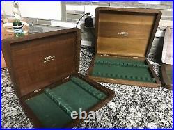 5 Vtg Cutco Wood Hinged for Table Steak Knife Box Walnut Storage Case Felt Lined