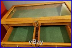 6 Drawer Wood Display Case Storage Collectors Box Glass Top Knives Jewelry