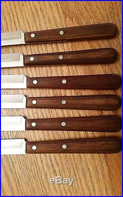 6 Vintage Case XX M254 Miracl-edge Steak Knives with Wood Handles withStorage Case