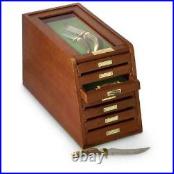7 Drawer Display Case Knives Coins Wood Thick Glass Collectors Cabinet Storage