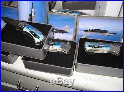 Air Force Jet & Eagle pocket knife tin case-12 knives-lot-10y storage find-folds