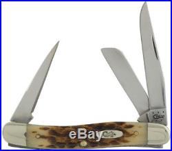 Amber Bone Medium Stockman Pocket Knife Blades Fold Into Handle Storage New