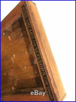 Antique Display Case Wiss Shears And Scissors Stay Sharp Knife Sign Store Wall