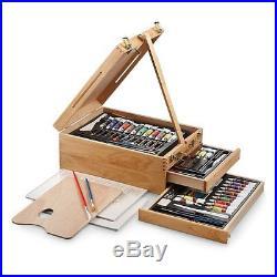 Art Easel Set Wood Storage Case Paint Tubes Pastels Pencils Brush Palette Knife