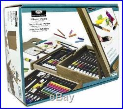 Art Easel Set Wood Storage Case Paint Tubes Pastels Pencils Brush Palette Knives
