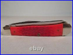 BEAUTIFUL 2009 WR CASE XX BRIGHT RED TRAPPER FOLDING KNIFE With STORAGE BOX, LOOK