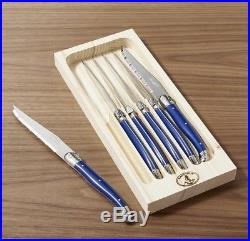 Blue Steak Knives, Set of 6 With Wooden Storage Case Cutlery Dining