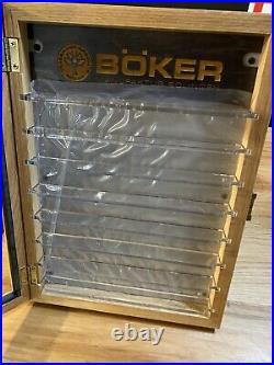 Boker Manukactur Solingen Knife Display Case With Keys Wood Glass Storage Back
