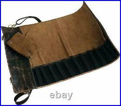 Buffalo Leather Knife Roll Storage Bag Travel Friendly Chef Knife Case Roll