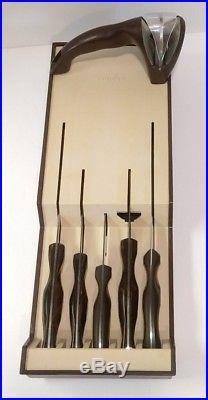 CUTCO 7 pc. Kitchen Knife Set Dark Brown Swirl Handles & Storage Case VINTAGE