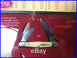 Case XX Natural Bone Handle American Made Pocket Knife Set With Store Display Case