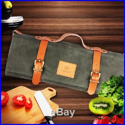 Chef Knife Bag Canvas Roll Bag Case Portable Durable Storage with 11 Pockets