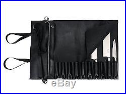Chef Knife Bag Folding Storage Roll Up Case Leather Portable 10 Pocket Slot Gift