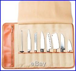 Chef Knife Roll Bag Leather Storage Case (8-Pocket) Portable With Shoulder Strap