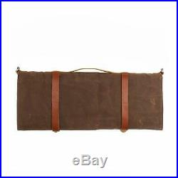 Chef Knife Storage Roll Bag Waxed Canvas Case Carrier 10 Knives Pocket Portable
