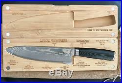 Chef Knife & Wooden Cutting Board/Storage Case Kitchen Set SMOKED. BRAND NEW