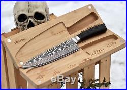 Chef Knife Wooden Cutting Board/Storage Case Kitchen Set SMOKED Series 8 inch