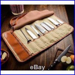 Chef's Knife Roll Up Storage Bag (8-Pocket) Easy-Carry Handle Safe / Secure