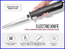 Chefman Electric Knife with Bonus Carving Fork & Space Saving Storage Case In
