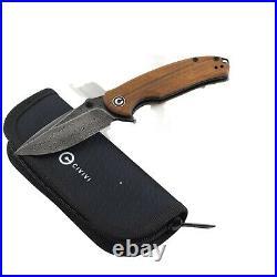 Civivi Cuibourtia Wood Pintail Linerlock Pocket Knife Damascus Steel Blade