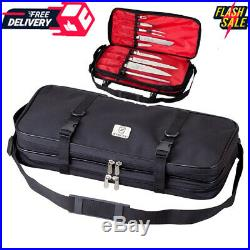 Culinary Knife Carry Case Chef Double Zip Organizer Blade Cutlery Holder Storage