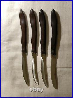 Cutco Steak Knives Model 1058 4 Knives Brown Orange Swirl with Storage Case for 8