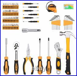 DEKO 158 Piece DIY Household Kit Tool Set With Plastic Storage Case Toolbox