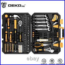 DEKOPRO 158 Piece Auto Repair Tool Set with Plastic Toolbox Storage Case