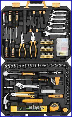 DEKOPRO 208 Pcs Tool Set General Household Hand Tool Kit With Toolbox Storage Case